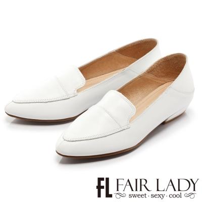 Fair Lady 法式極簡尖頭踩腳懶人樂福鞋 白