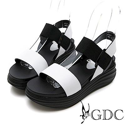 GDC-真皮百搭簡約彈力厚底涼鞋-白色