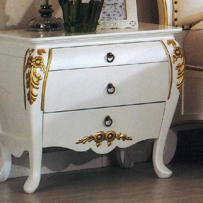 AT HOME - 艾麗絲法式象牙白金邊床頭櫃 60x40x58cm