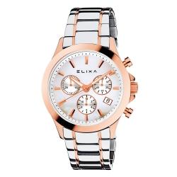 ELIXA ENJOY金屬系列玫瑰金框 三眼錶盤 銀色金屬錶帶38mm