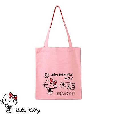 旅行系列~KITTY印圖帆布肩背包-OB大尺碼
