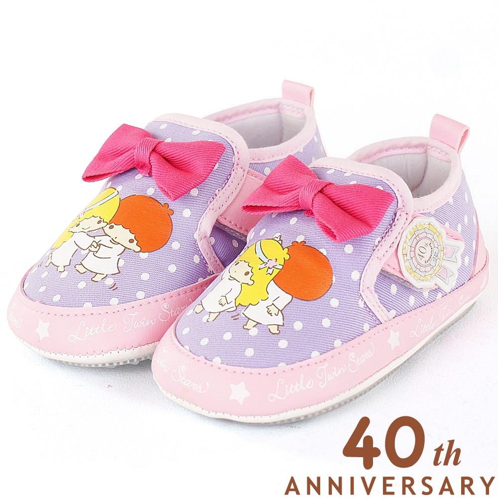 雙星仙子 40週年限定款舒適布質寶寶學步童鞋-紫