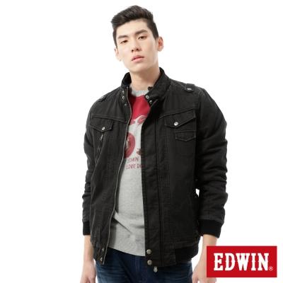 EDWIN-外套-洗褪騎士鋪棉防寒外套-男-黑色