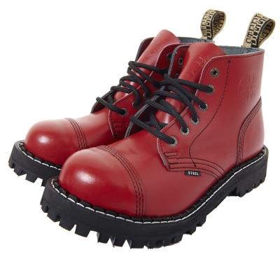 STEEL BOOTS歐洲經典6孔鐵頭靴-紅色