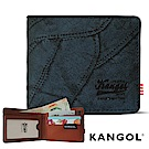 福利品 KANGOL 韓式潮流橫式短皮夾+鑰匙圈禮盒-牛仔藍