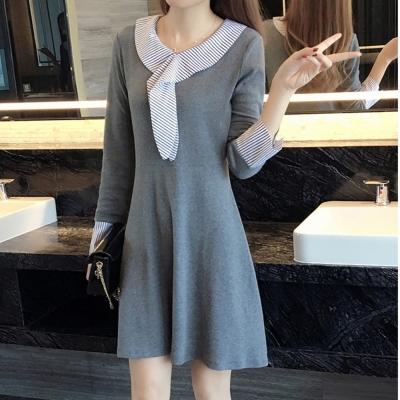 中大尺碼 條紋領巾拼接條紋接袖學院收腰洋裝XL~4L-Ballet Dolly
