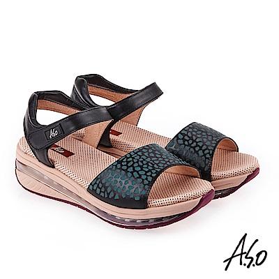 A.S.O 超能力 俏麗豹紋全真皮輕量奈米鞋墊休閒涼鞋 黑色