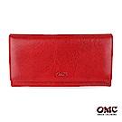 OMC 原皮系列-植鞣牛皮壓扣16卡透明窗雙隔層零錢長夾-紅色