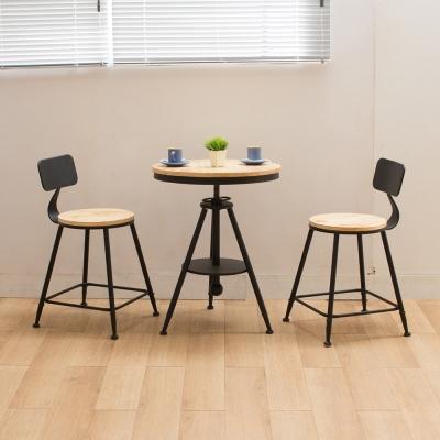 微量元素-手感工業風美式桌椅組/一桌二椅/原木色