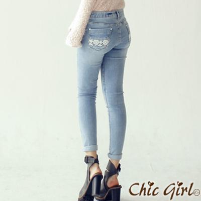 蕾絲花紋口袋線條窄管褲 (淺藍單寧)-Chic Girl