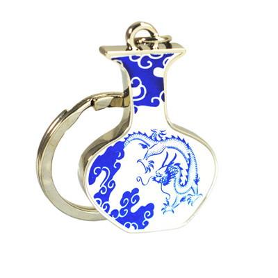 【PUSH】創意鑰匙圈 白地青花瓷 飛龍呈祥