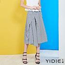YIDIE衣蝶-純綿立體層次感格紋八分裙