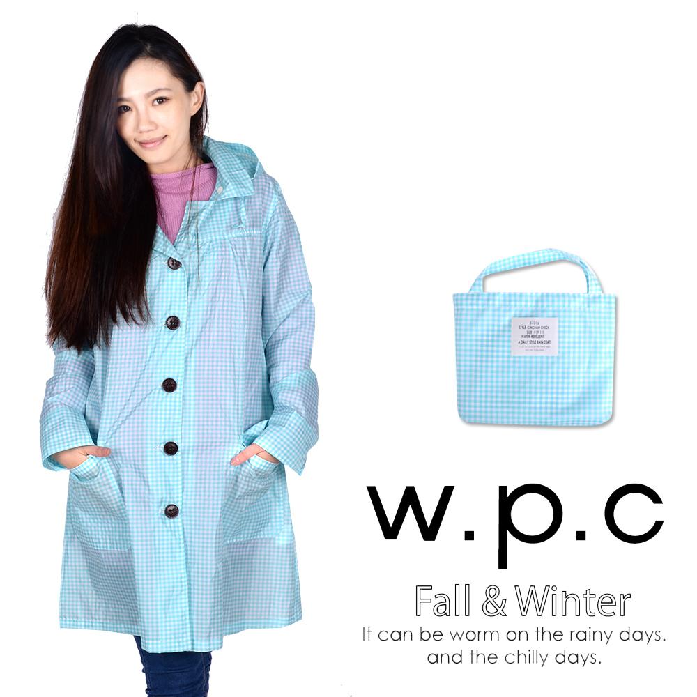 w.p.c 寬版格紋款。時尚雨衣/風衣(R1016)_藍白格