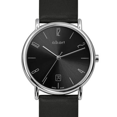 a.b.art KLD系列 經典德風大三針腕錶-銀黑/38mm