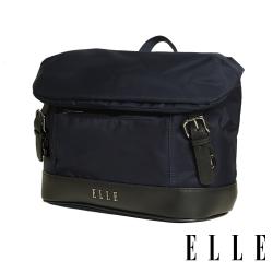 ELLE 時光旅人系列-大容量10吋IPAD橫式休閒手提/斜背包-午夜藍