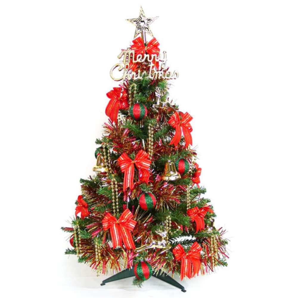 幸福3尺(90cm)一般型裝飾綠聖誕樹(+飾品組-紅金色系)(不含燈)