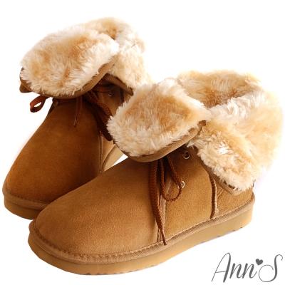 Ann'S溫暖甜美繫帶2way真牛麂皮雪靴-棕
