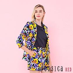 JESSICA RED - 滿版花朵設計西裝外套(黑)