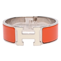 HERMES Clic 米白色H LOGO琺瑯中版手環(橘X銀-PM)