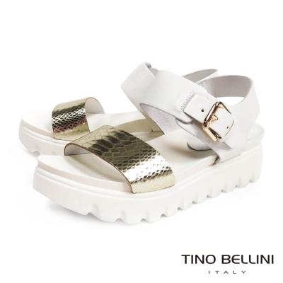 Tino Bellini 夏日時尚休閒白色厚底涼鞋_金