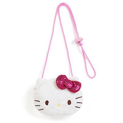 Sanrio HELLO KITTY童用大臉造型絨毛零錢包附頸掛繩(閃亮緞帶)