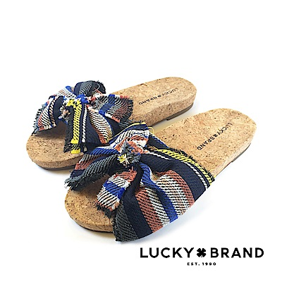 LUCKY BRAND--海洋風蝴蝶結軟木塞底涼拖鞋-個性條紋