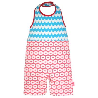 BIBPA 日本 露背式連身包屁衣 (波藍+粉)-純棉日本製
