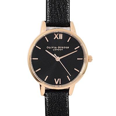 Olivia Burton英倫復古手錶 簡約刻度錶面黑色真皮錶帶玫瑰金框30mm
