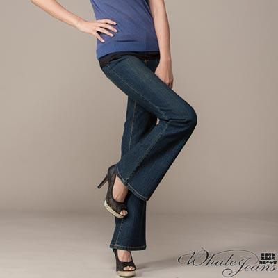 WHALE JEANS 修飾曲線伸縮中低腰喇叭褲