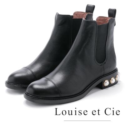 Louise et Cie 伸縮帶拼接珍珠低跟中筒靴-黑色