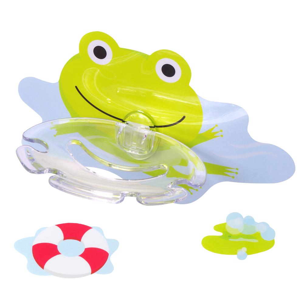 黏樂趣 NELO 卡通造形牙刷架/香皂架重複貼掛勾組(青蛙)