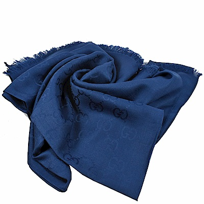 GUCCI 經典G LOGO造型圍巾/披肩(藍)