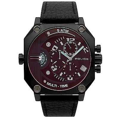 POLICE 冷冽科技雙時區皮革手錶-黑/50mm