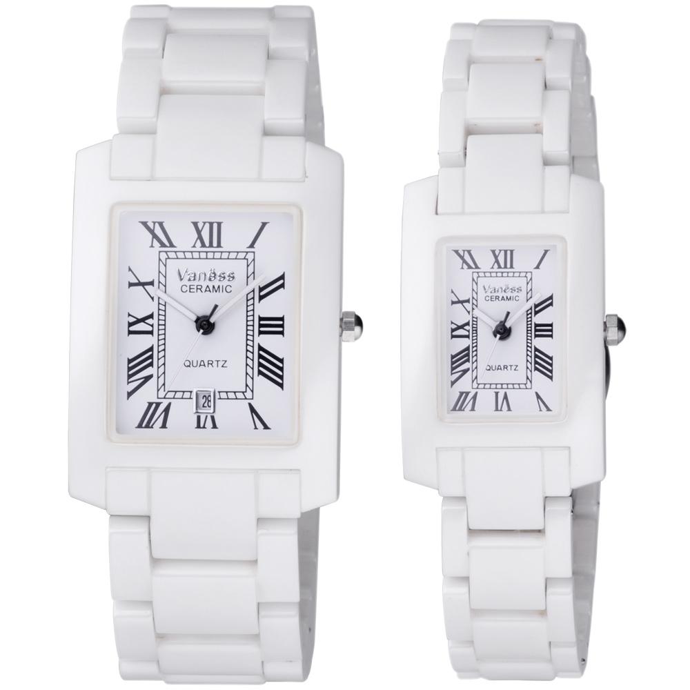 Vaness 羅馬風情經典陶瓷對錶-白