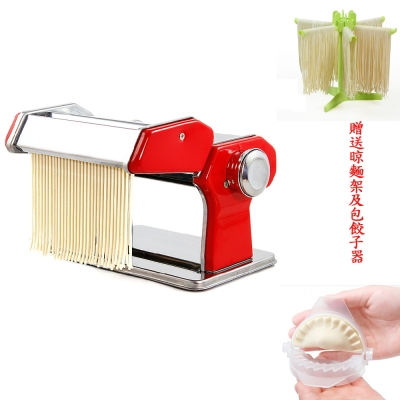 PUSH!廚房用品可作細寬麵餛飩水餃皮的壓麵機麵條機附贈晾麵架及包餃子器