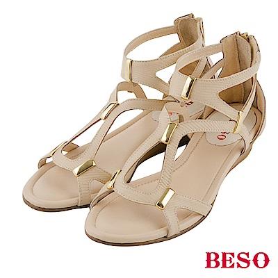 BESO摩登線條 金屬五金後拉帶全真皮涼鞋~米