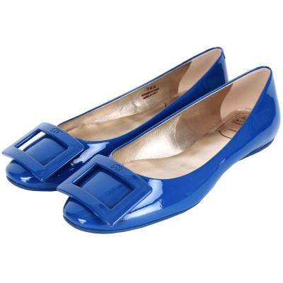 Roger Vivier Gommette 漆皮方框平底娃娃鞋(寶藍色)
