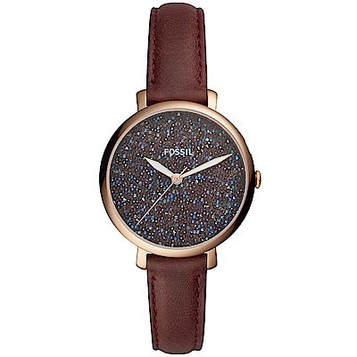 FOSSIL Jacqueline閃耀星鑽時尚手錶(ES4326)-咖啡/36mm