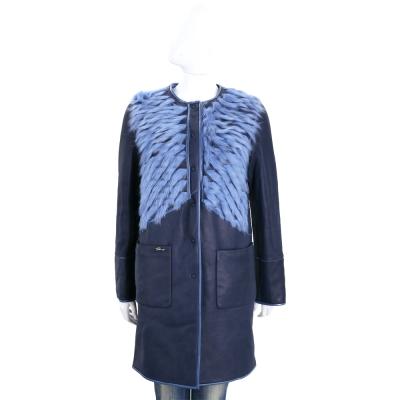 GENNY 藍色皮草細節雙面兩穿羊皮大衣