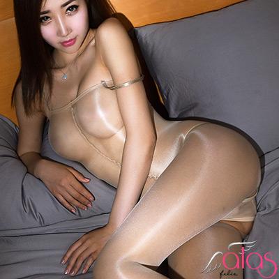 貓裝網衣 全裸透明油亮連身絲襪 (膚色) alas
