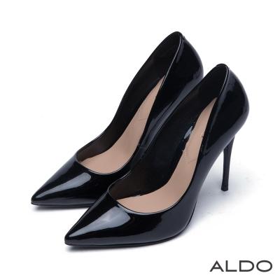 ALDO 魅力原色煙燻亮面細尖頭高跟鞋~漆皮黑色