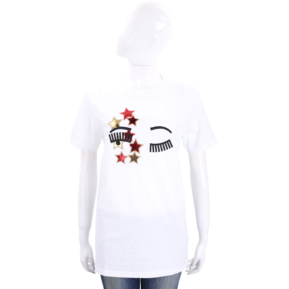 Chiara Ferragni Flirting星星眨眼圖案短袖長版T恤白色