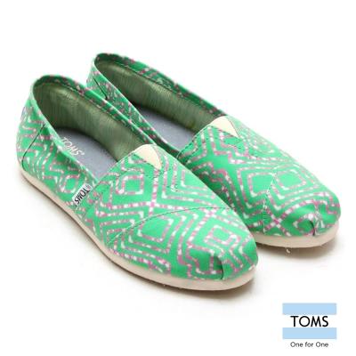 TOMS-幾何帆布懶人鞋-女款-綠