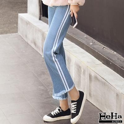 長褲-側邊拼色流蘇小喇叭九分牛仔褲-藍色-HeHa