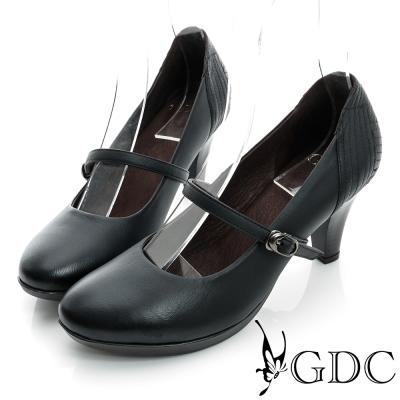 GDC都會-縫線造型瑪莉珍真皮中跟鞋-黑色