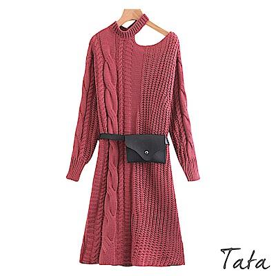 露肩針織洋裝(配腰包) TATA