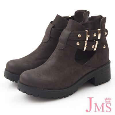 JMS-馬汀風金屬交叉側扣鏤空粗跟娃娃鞋-咖啡色