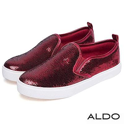 ALDO 原色亮片金屬光澤滾邊休閒便鞋~耀眼紅色