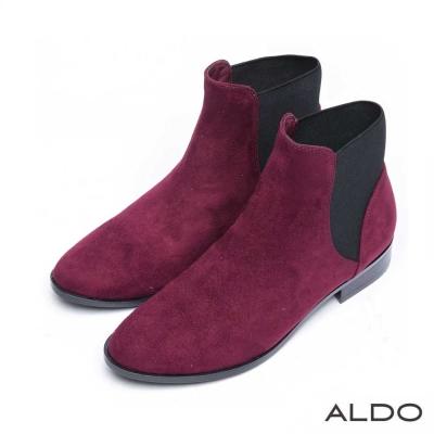 ALDO 原色幾何異材質切線拼接短靴~濃郁紅色