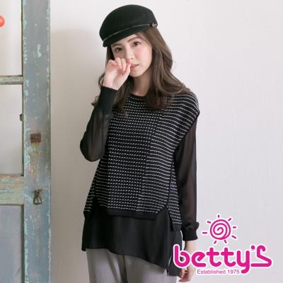 betty's貝蒂思 簍空針織背心雪紡長袖兩件式上衣(黑色)